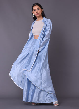 Sky-Blue Asymmetric Jacket