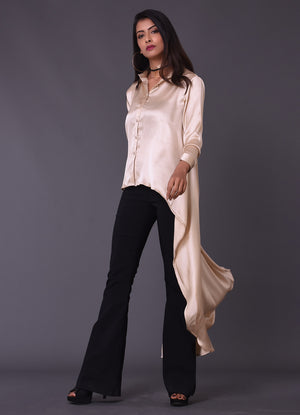 Cream Gold High Low Shirt