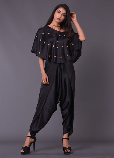 Black One Shoulder Cape