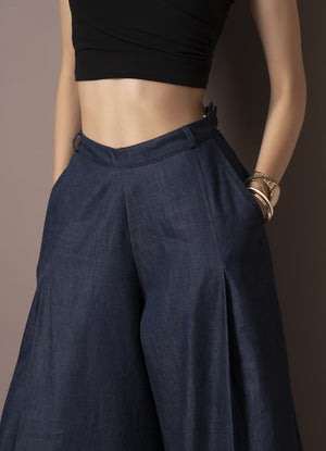 Dark Blue Denim Flared Pants