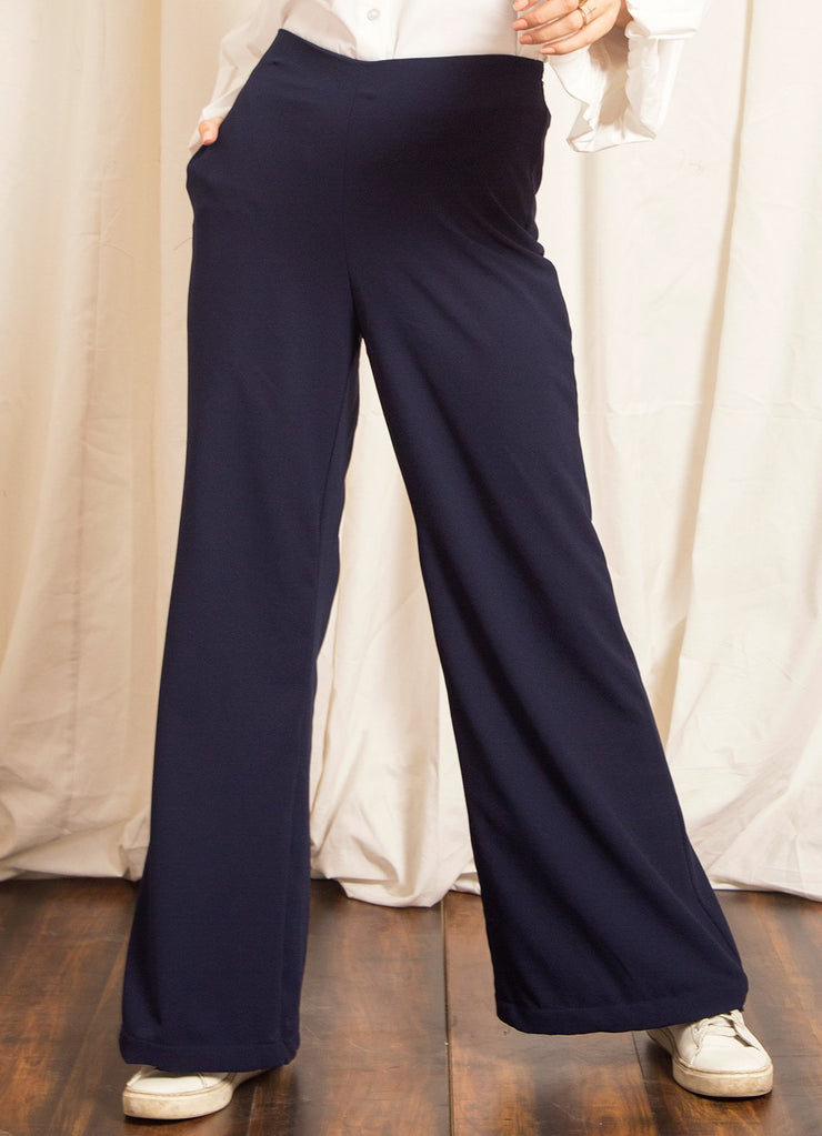 Navy High Waisted Flared Pants