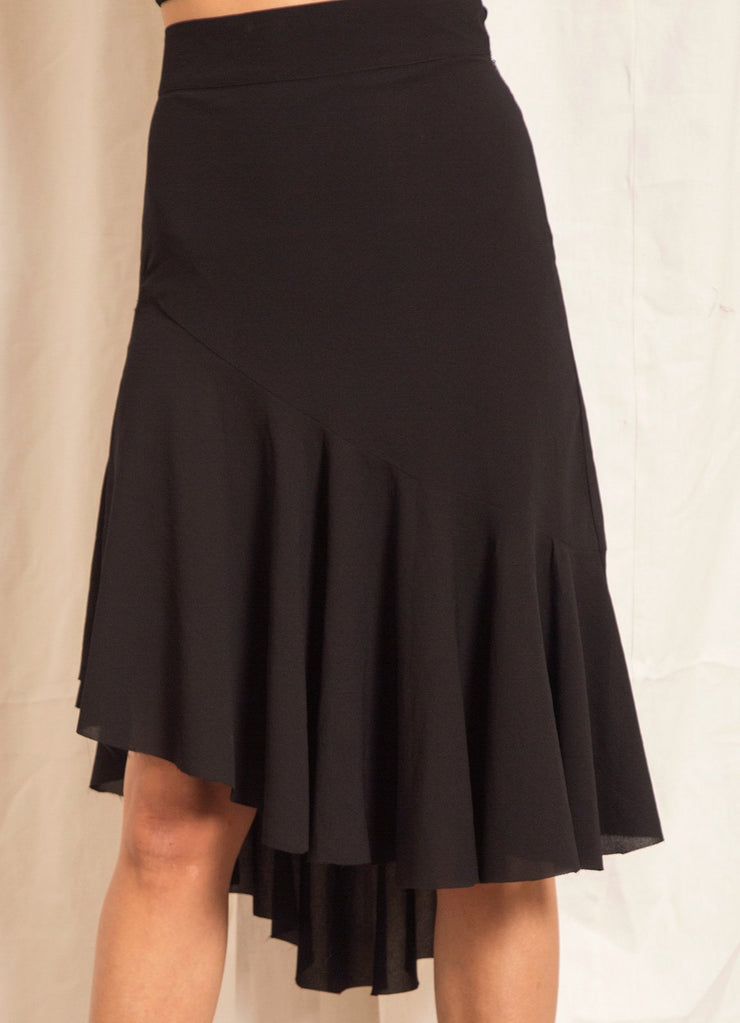 Black Asymmetric Ruffle Skirt