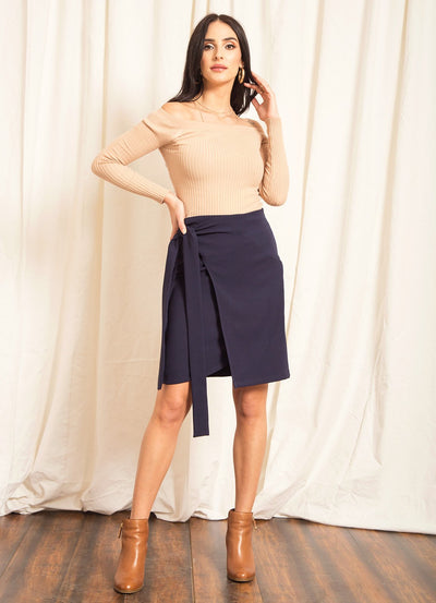Navy Overlap Tie-Up Skirt