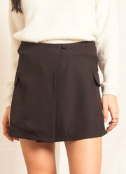 Black Overlap Skirt