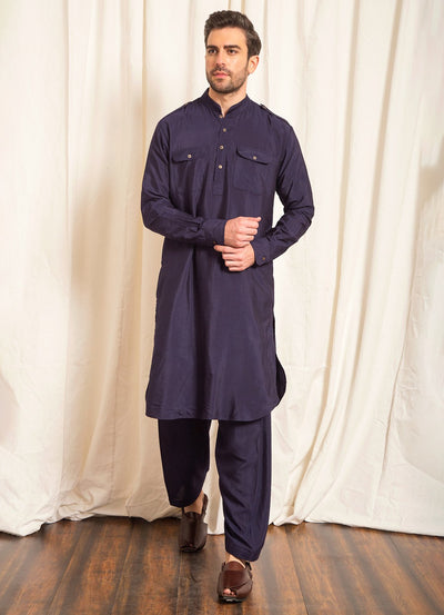 Navy Pathani Set