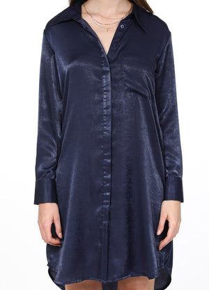 Midnight Blue Satin Shirtdress