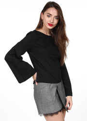 Black Sleeves Top With Button
