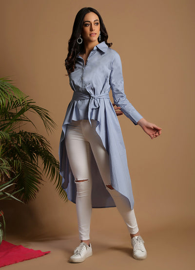 Powder Blue High-Low Shirt