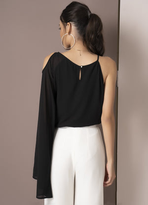 Black Cold Shoulder Flared Sleeve Top