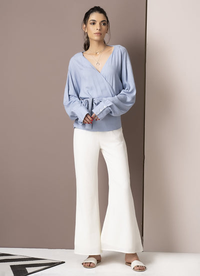 Powder Blue Balloon Sleeve Wrap Top