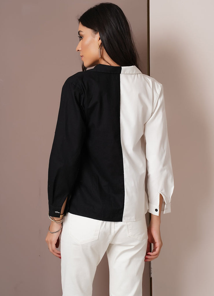 Black & White Half-and-Half Shirt