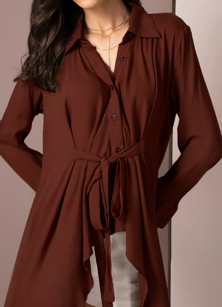 Chocolate Front Knot Shirt