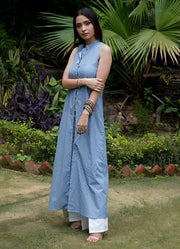 Seher Sea Blue Button Down Kurta