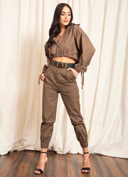 Khaki Oversized Crop Shirt