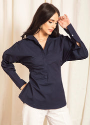 Navy Back Tie-Up Shirt