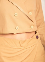 Beige Double Breasted Crop Blazer