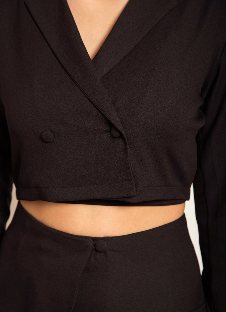 Black Double Breasted Crop Blazer