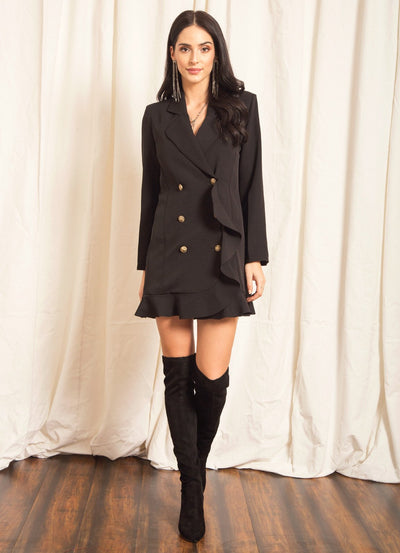 Black Ruffle Blazer Dress