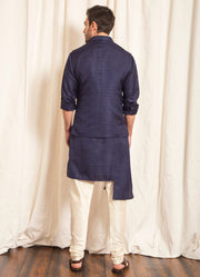 Blue Raw Silk Nehru Jacket