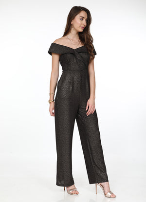 Off-Shoulder Shimmer Jumpsuit