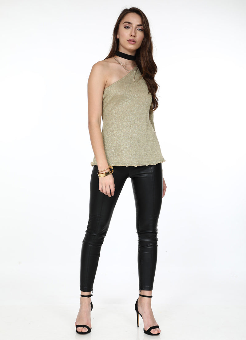 Gold One Shoulder Top