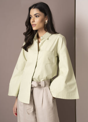 Sage Green Flared Sleeve Shirt
