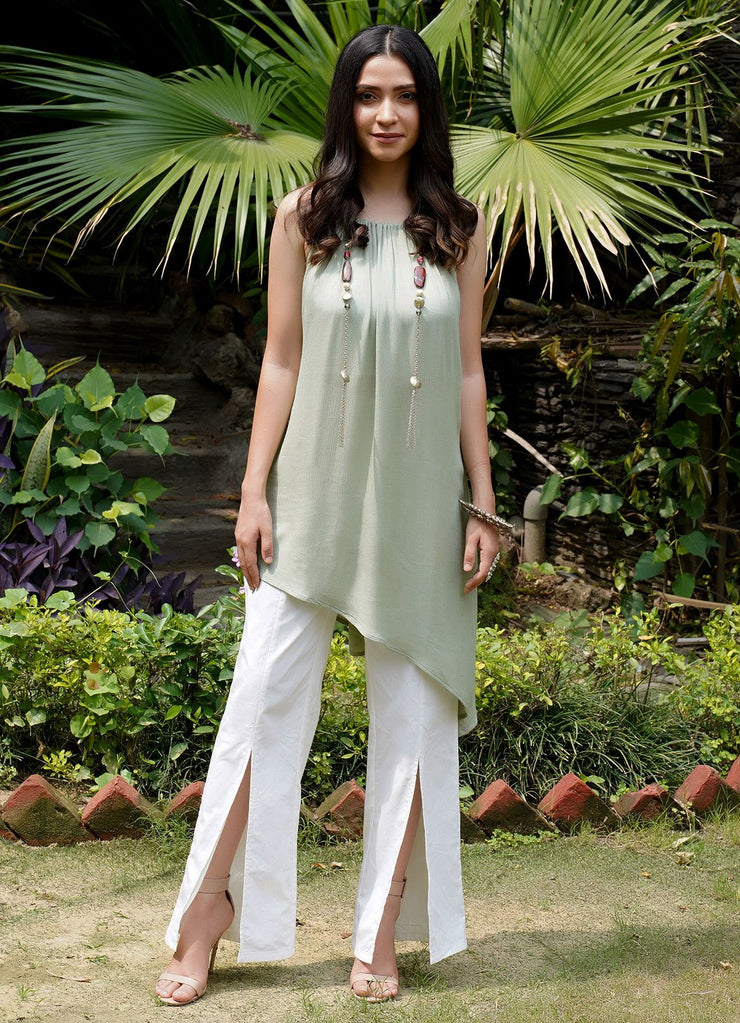 Seher mint green asymmetric kurta