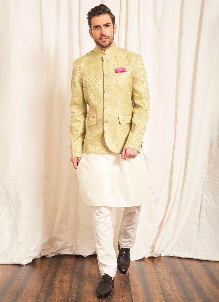 Green Brocade Bandhgala