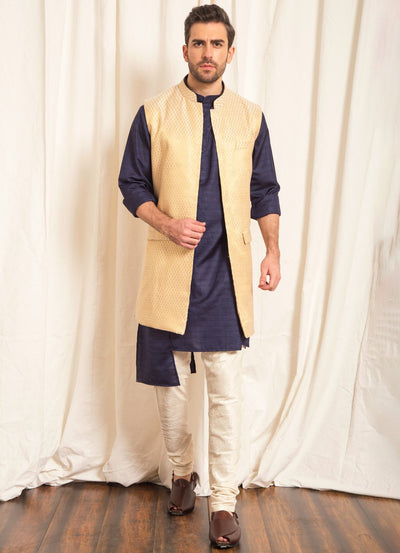 Gold Brocade Nehru Jacket