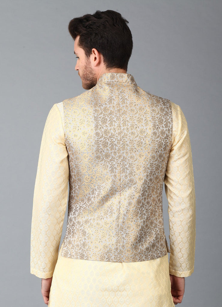 Grey Filigree Brocade Nehru Jacket