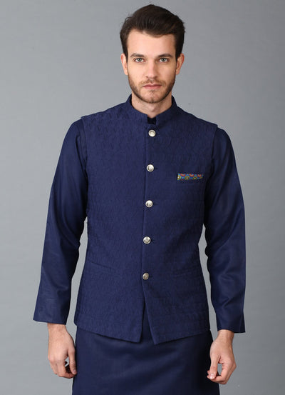 Navy Embroidered Nehru Jacket