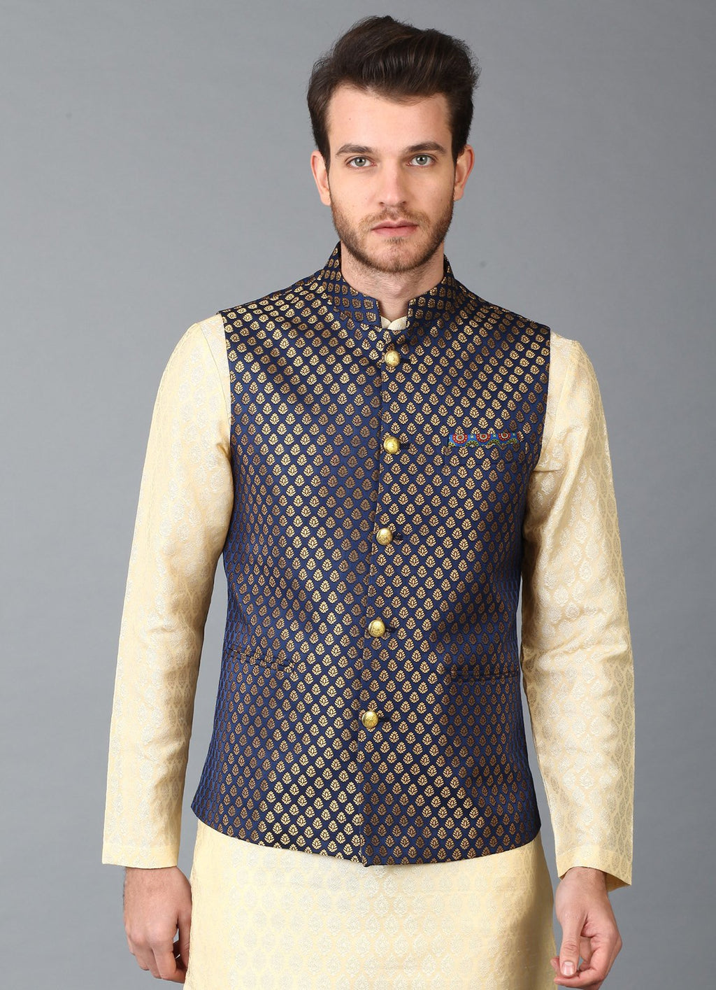 Navy Brocade Nehru Jacket