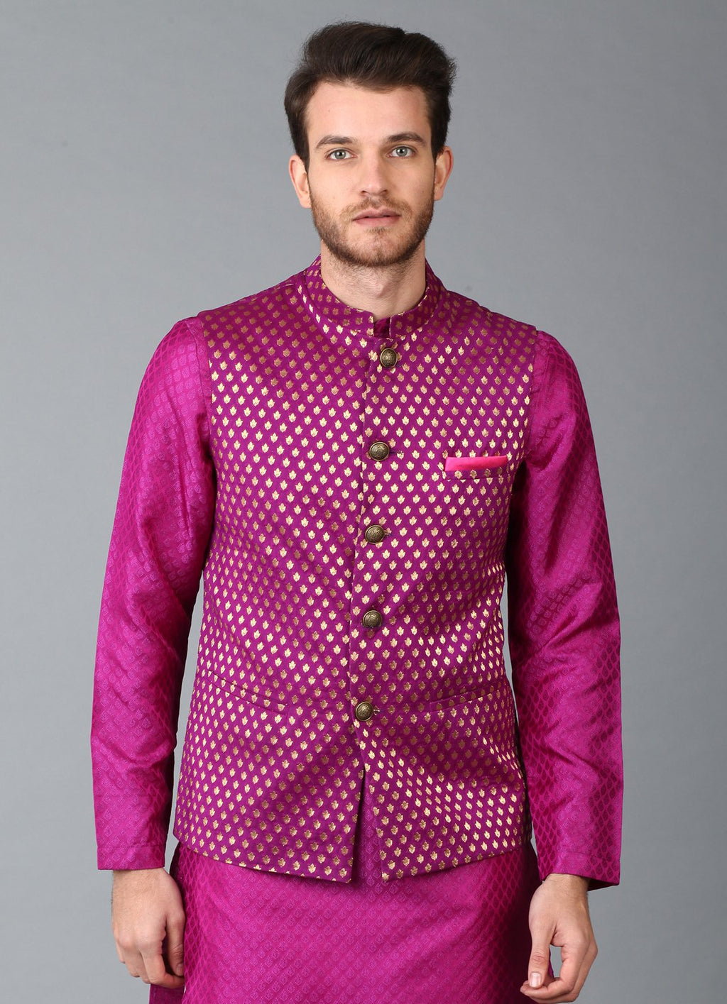 Purple Brocade Nehru Jacket