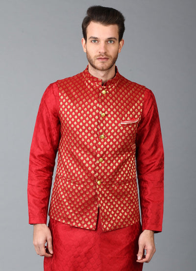 Red Brocade Nehru Jacket