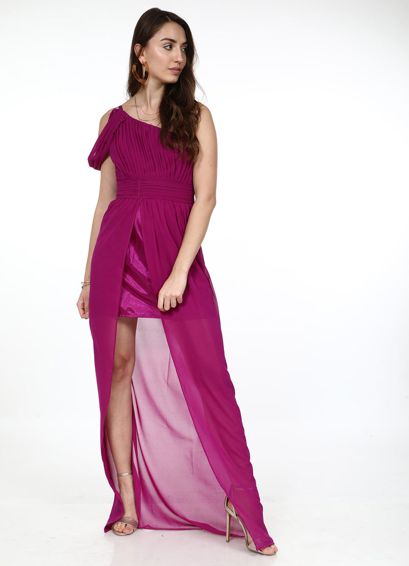 Magenta One Shoulder Maxi Dress