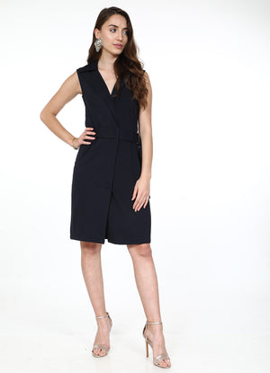 Navy Sleeveless Trench Dress