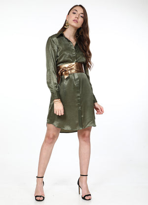 Olive Satin Shirtdress