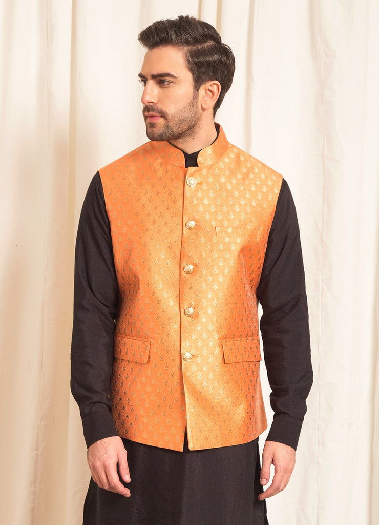 Orange Brocade Nehru Jacket