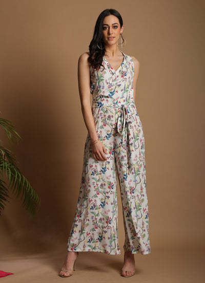 Wildflower Print Wrap Jumpsuit