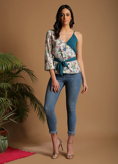 Wildflower Print Contrast Top