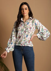 Wildflower Print Balloon Sleeve Top