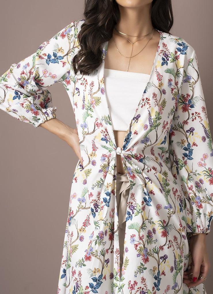 Wildflower Print Front-Knot Overlay