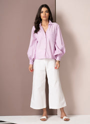 Lavender Balloon Sleeve Shirt