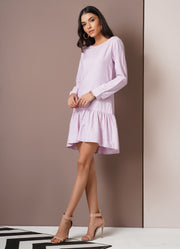 Lavender Drop Waist Ruffle Dress