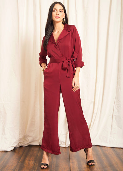 Cherry Collared Tie Jumpsuit