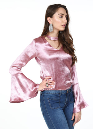 Rose Metallic Choker Top
