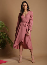Blush Rose Balloon Sleeves Midi Dress