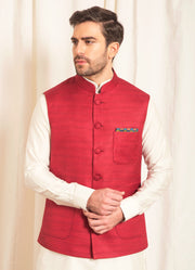 Red Raw Silk Nehru Jacket