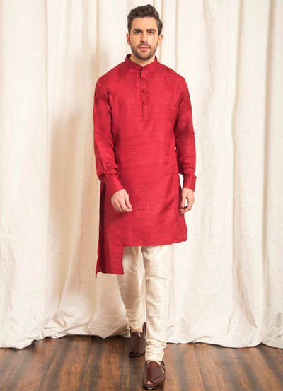 Red Asymmetric Kurta