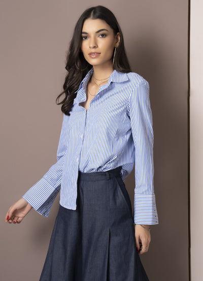 Pinstripe Riveted Cuff Shirt